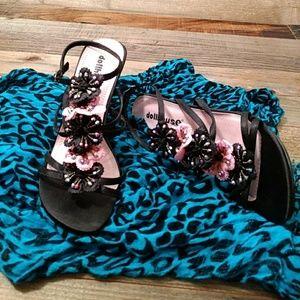 Dollhouse Black Heels Size 7 Ankle Strap Embellis